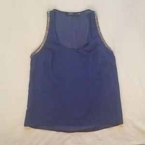 Navy Blue Top with Silver Beading size Small
